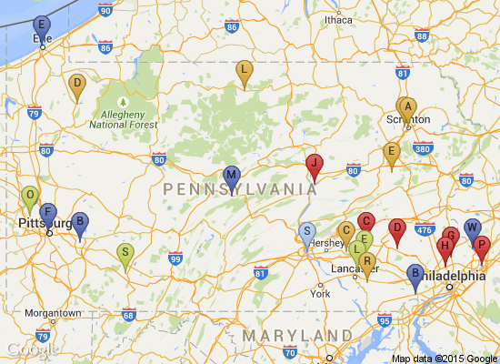 PA Trails of History map